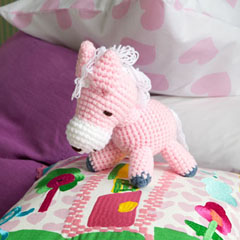 pink pony knitted toy - 19cm tall