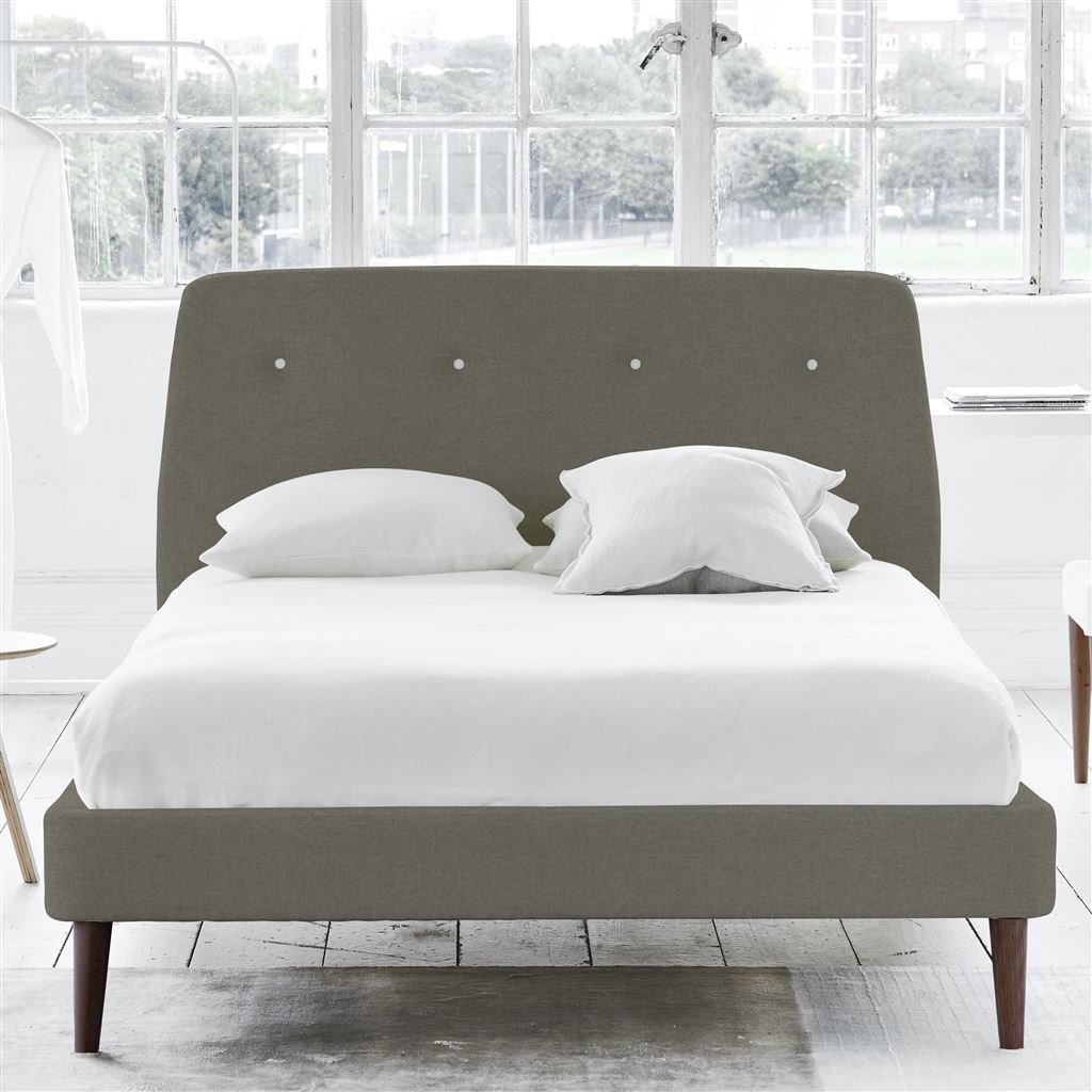 Cosmo Bed White Button - Single - Walnut Leg Rothesay - Pumice