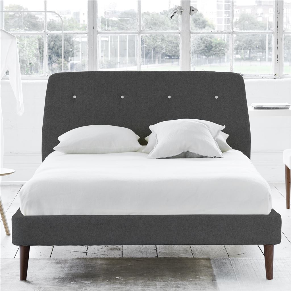 Cosmo Bed White Button - Double - Walnut Leg Rothesay - Smoke