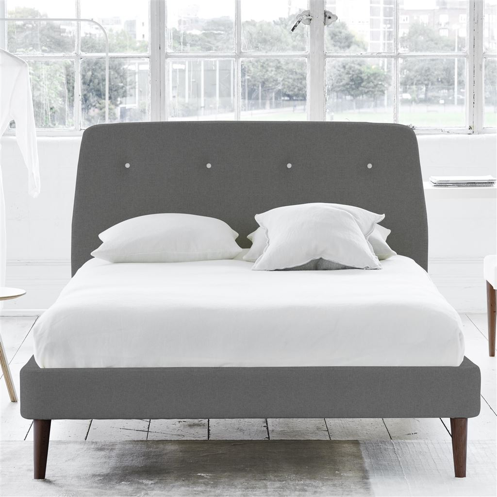 COSMO BED WHITE BUTTON - SINGLE - WALNUT LEG ROTHESAY - ZINC
