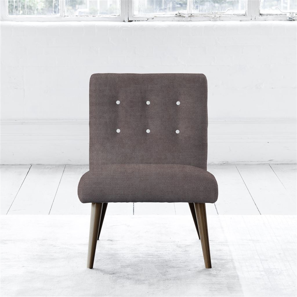 Eva Chair - Walnut Leg - White Buttons - Zaragoza - Clover
