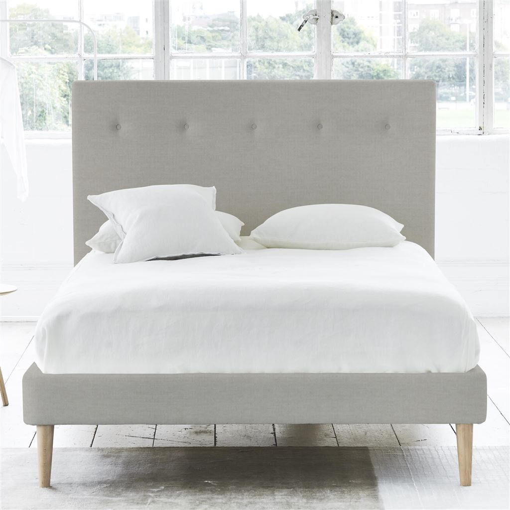 Polka Bed Self Button - King - Beech Leg Zaragoza - Eggshell