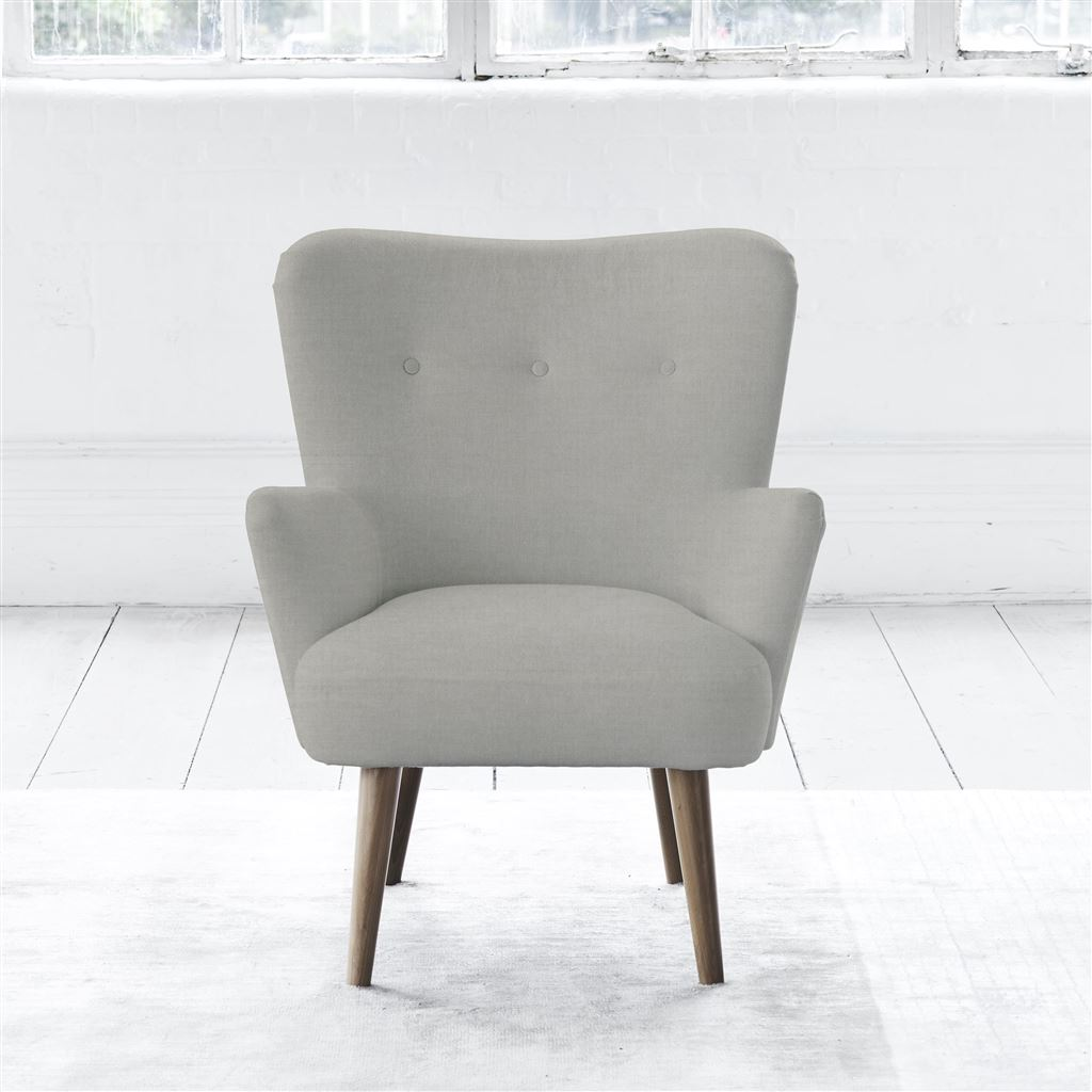Florence Chair - Walnut Leg - Self Buttons - Zaragoza - Eggshell