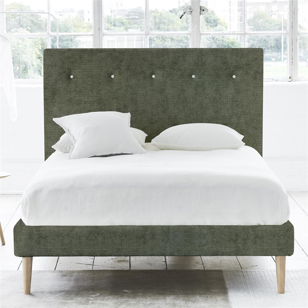 Polka Bed White Button - Double - Beech Leg Zaragoza - Fern