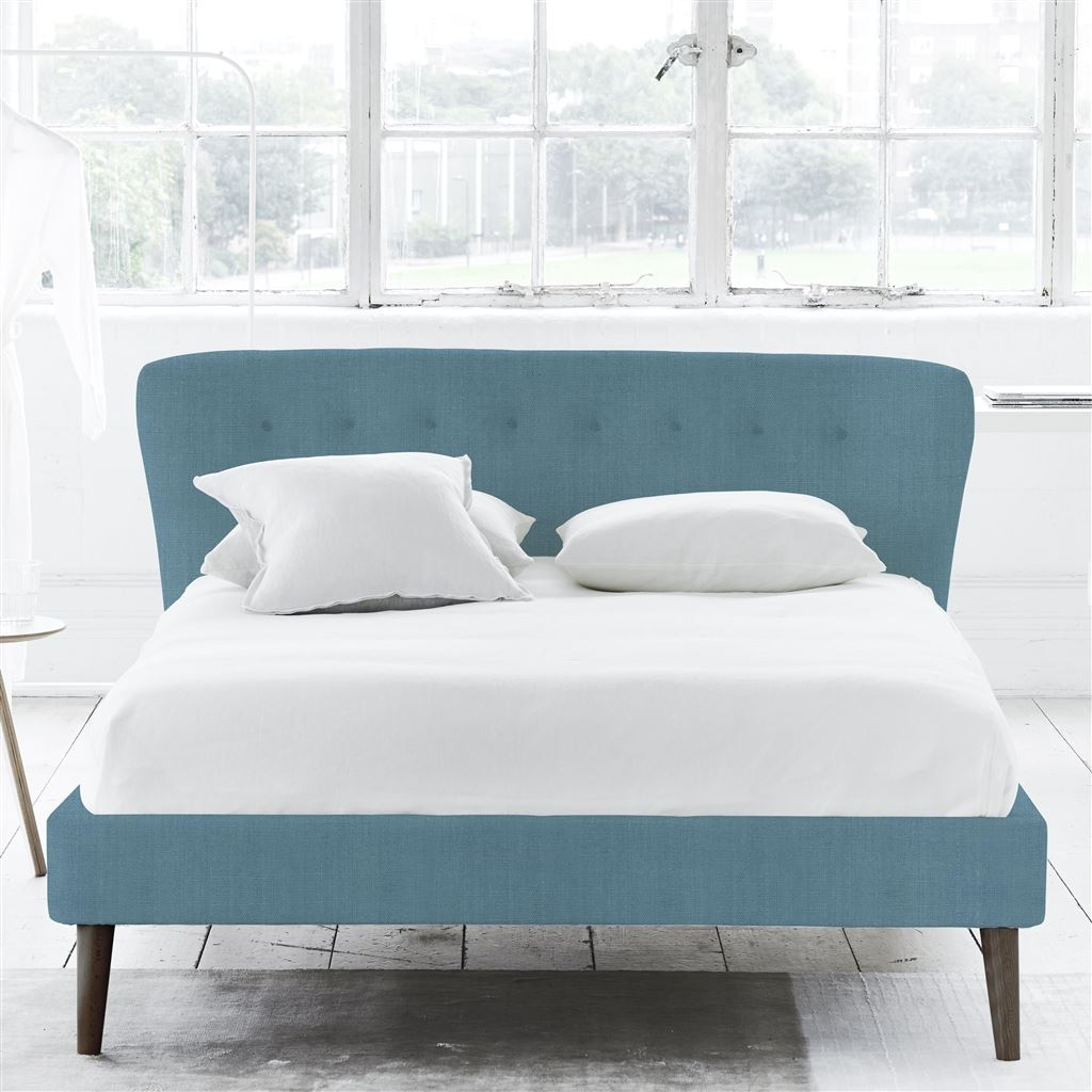 Wave Bed Self Buttons - King - Walnut Leg - Brera Lino Ocean