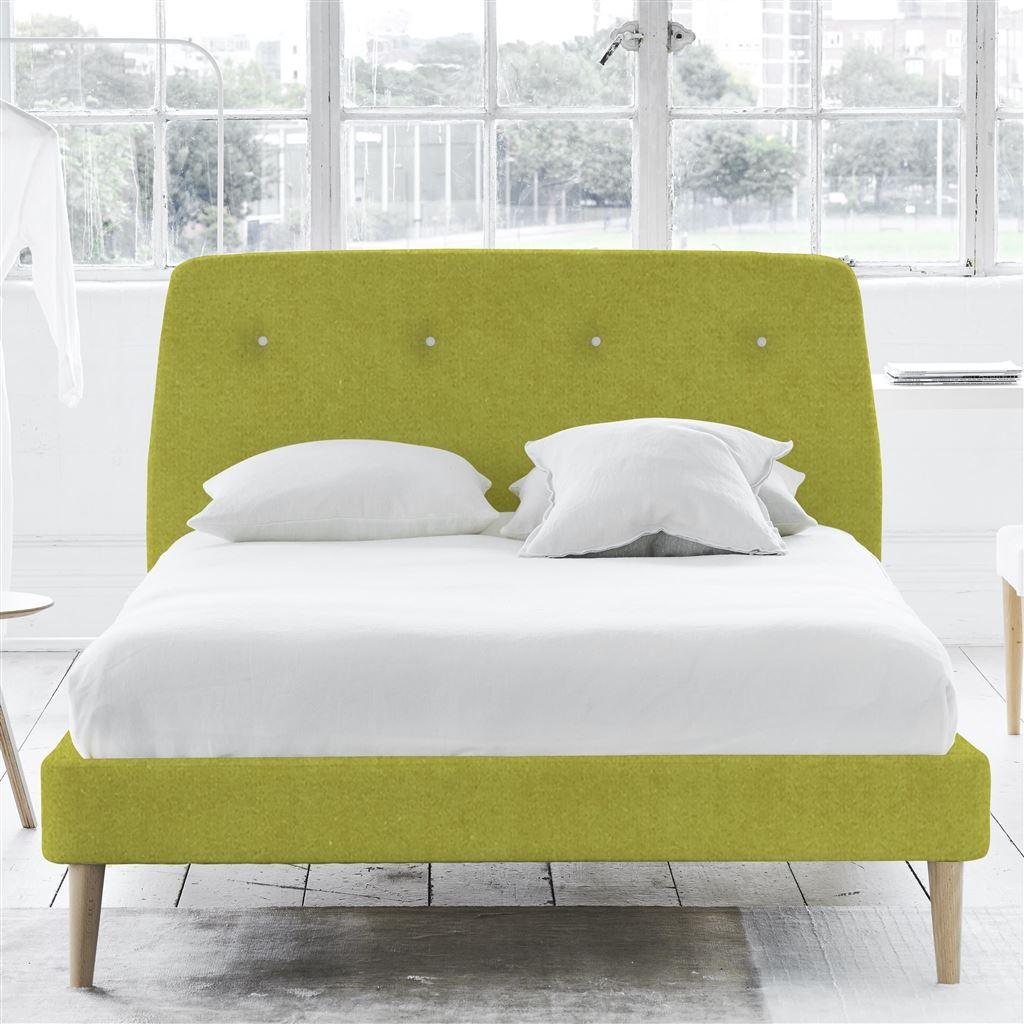 COSMO BED WHITE BUTTONS - KING - BEECH LEG - CASSIA ALCHEMILA