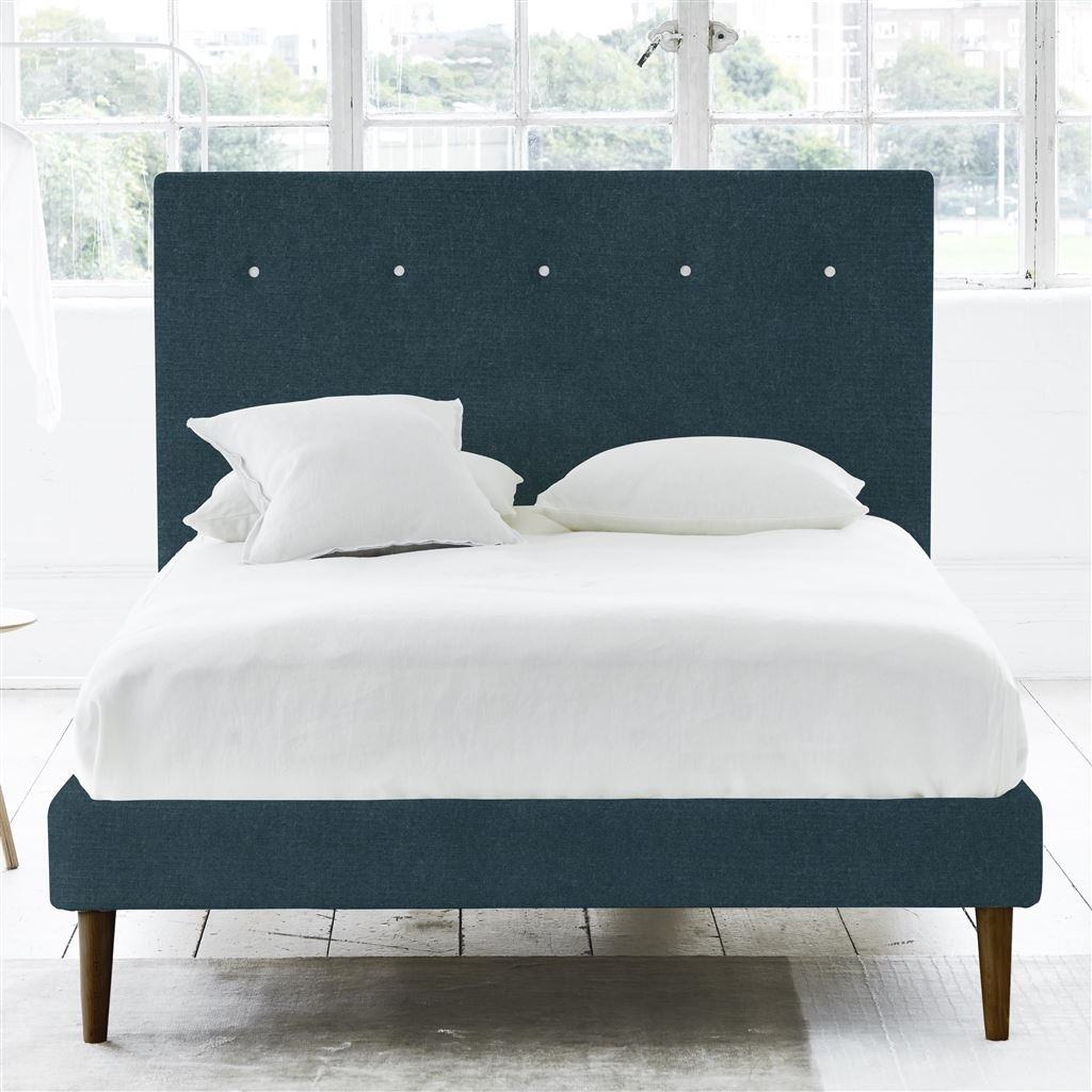 Polka Bed White Buttons - Single - Walnut Leg - Cassia Kingfisher