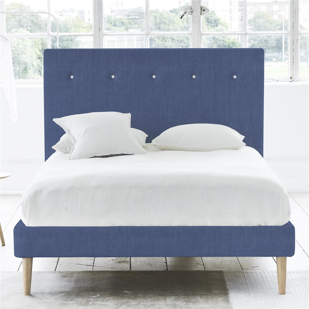 POLKA BED WHITE BUTTONS - SINGLE - BEECH LEG - BRERA LINO MARINE