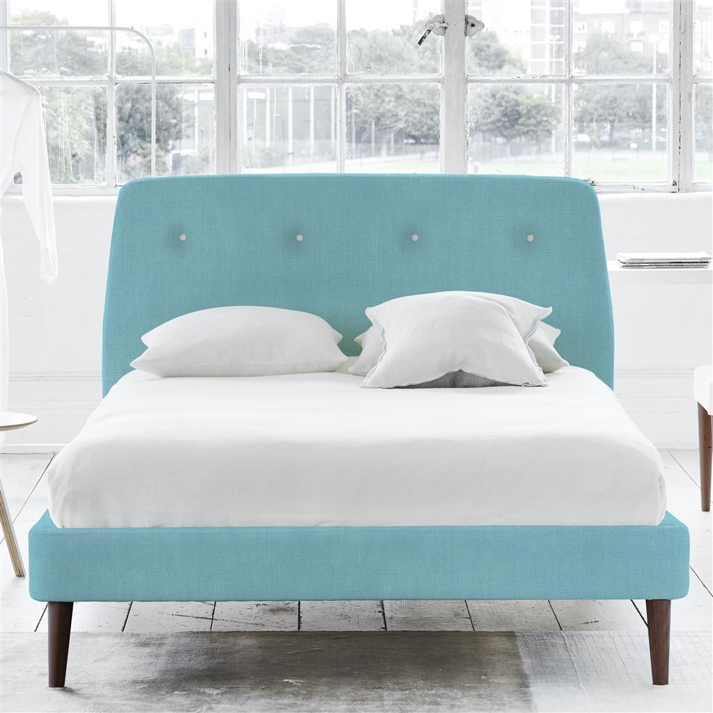 Cosmo Bed White Buttons - Double - Walnut Leg - Brera Lino Turquoise