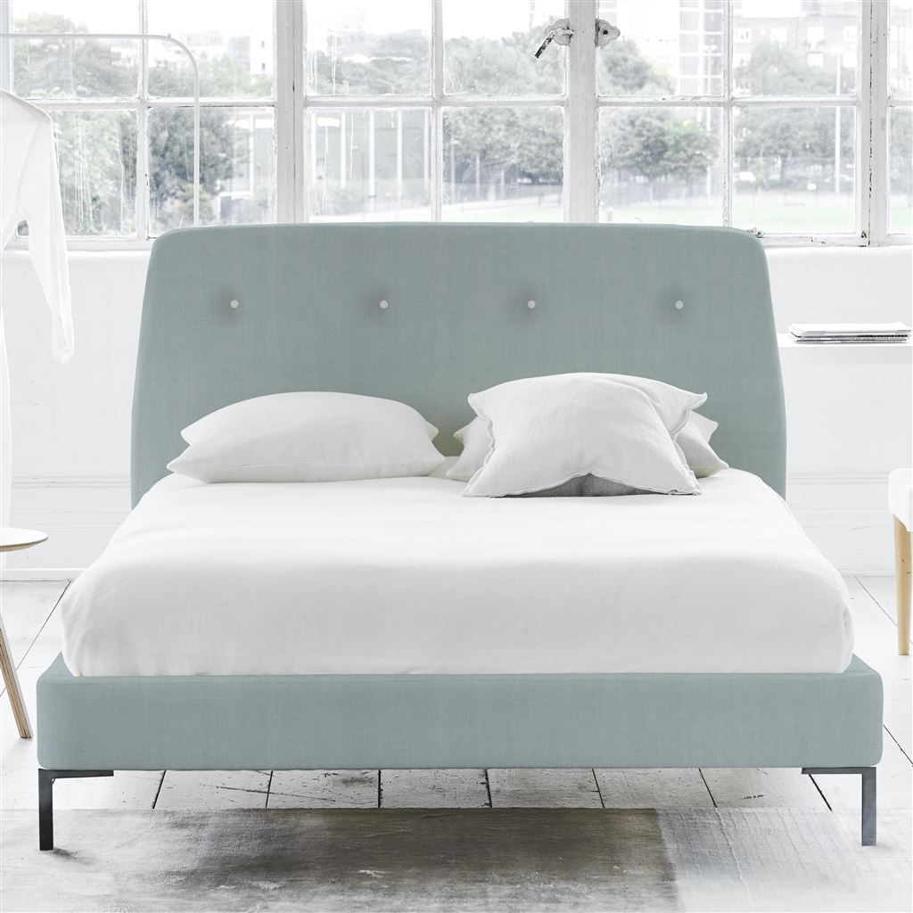 Cosmo Bed White Buttons - King - Metal Leg - Brera Lino Duck Egg