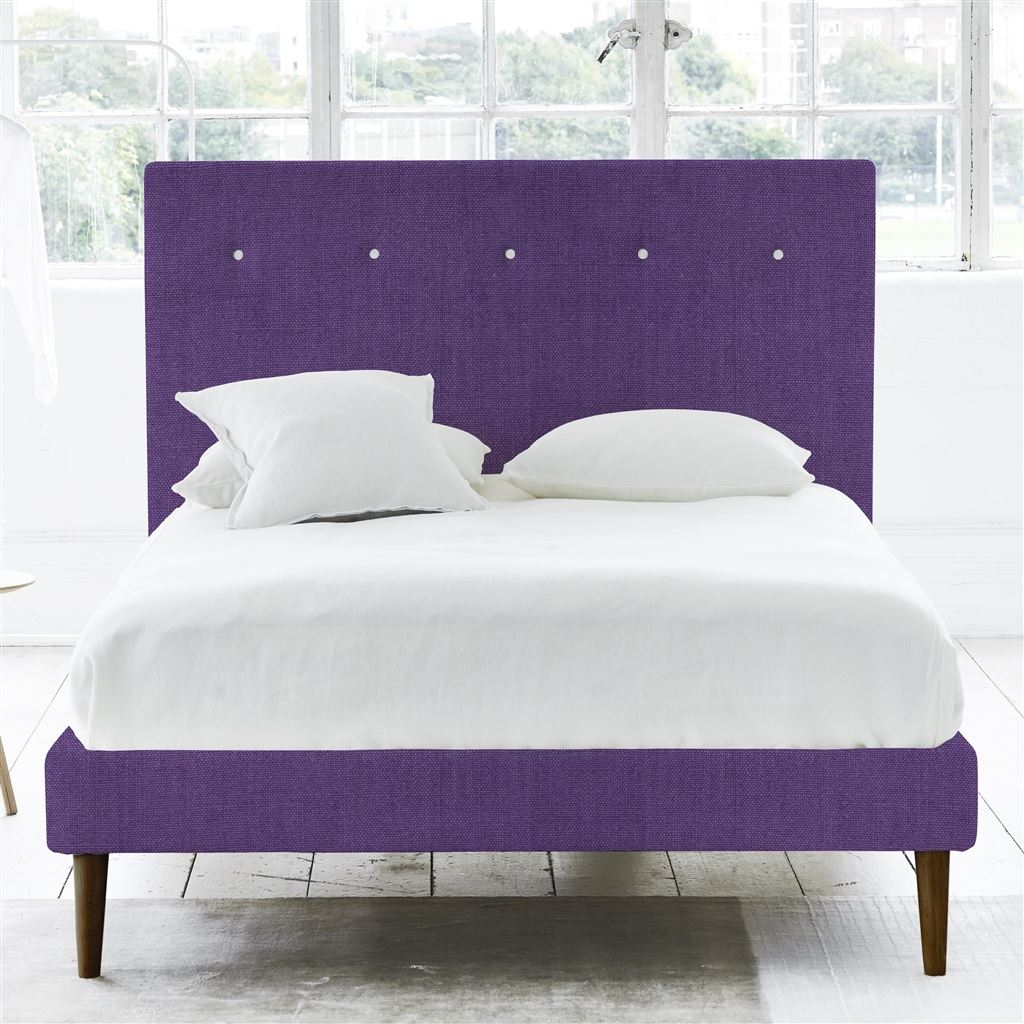 POLKA BED WHITE BUTTONS - DOUBLE - WALNUT LEG - BRERA LINO VIOLET