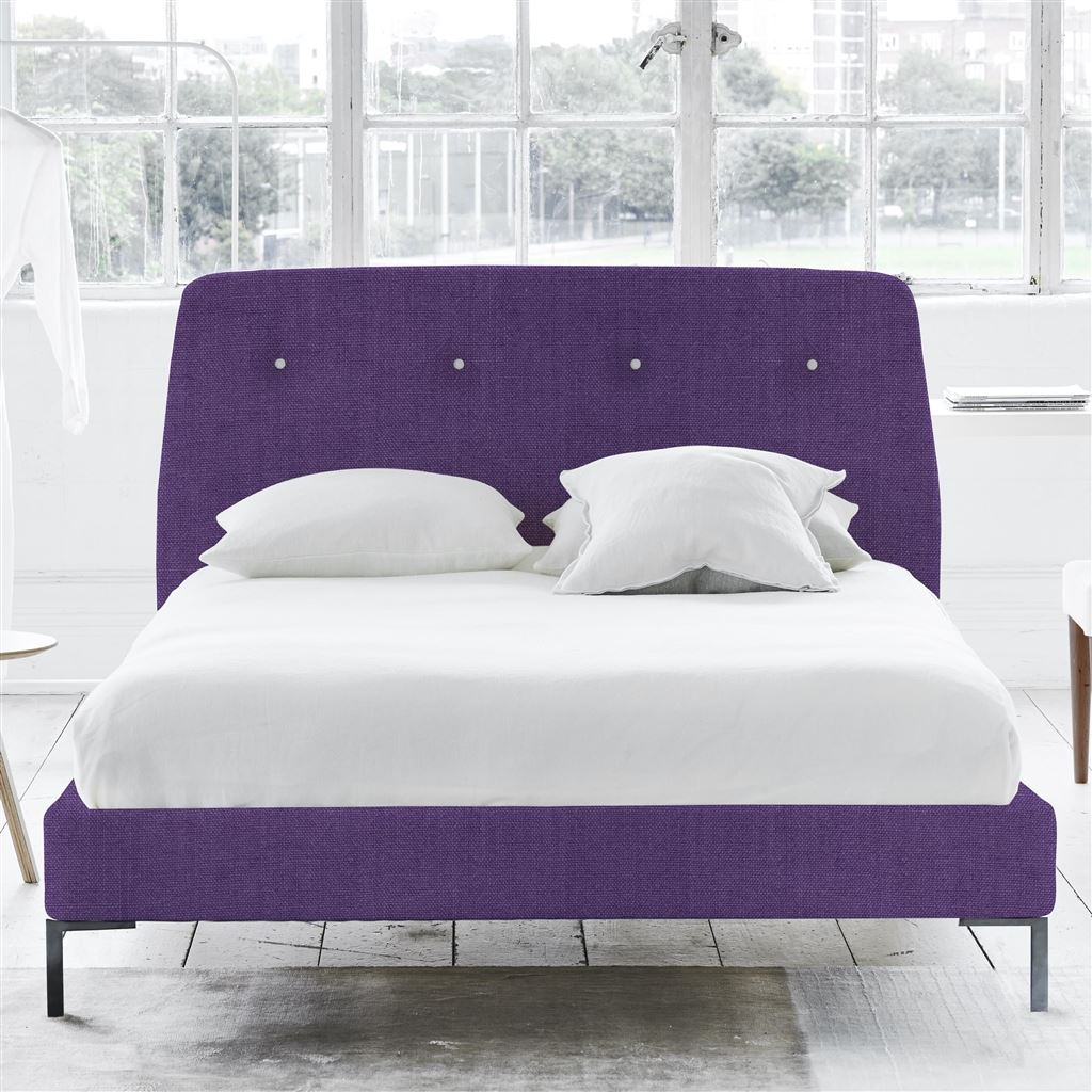 Cosmo Bed White Buttons - King - Metal Leg - Brera Lino Violet