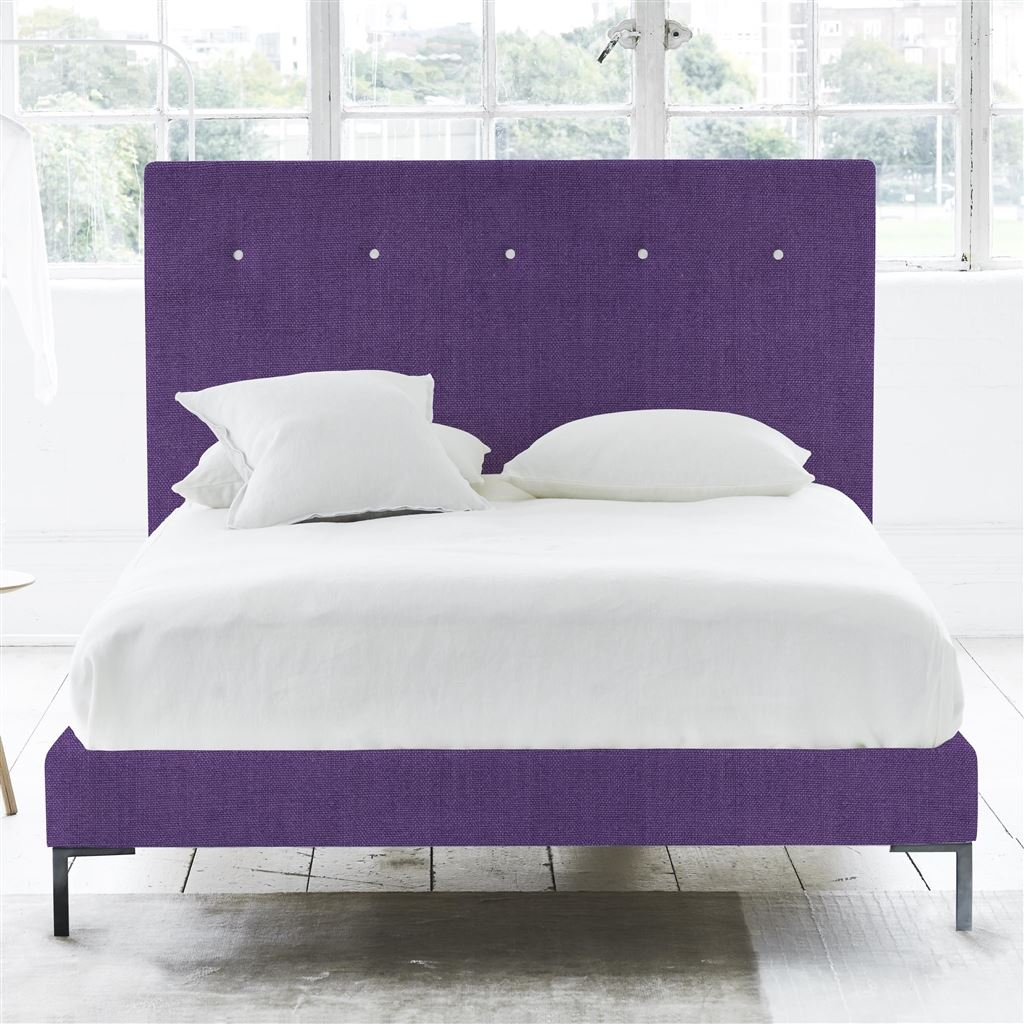 Polka Bed White Buttons - Double - Metal Leg - Brera Lino Violet