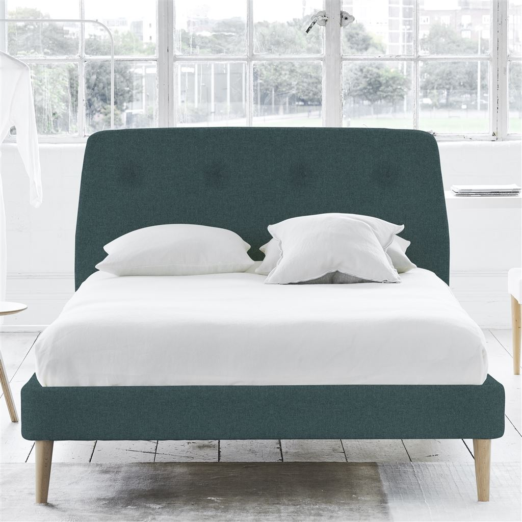 Cosmo Bed Self Button - Super King - Beech Leg Rothesay - Azure