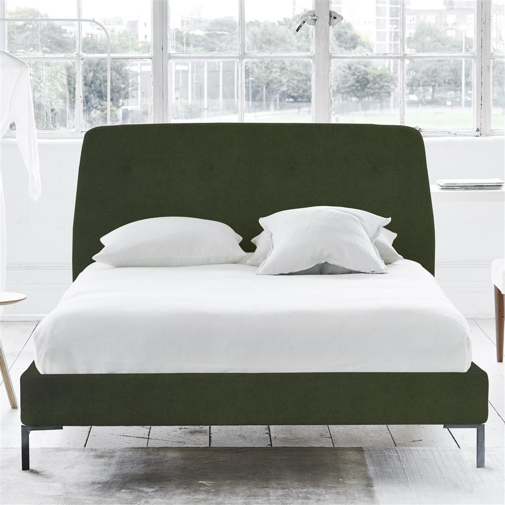 Cosmo King Bed - Self Buttons - Metal Legs - Cassia Fern - H108 x W164 x L220cm