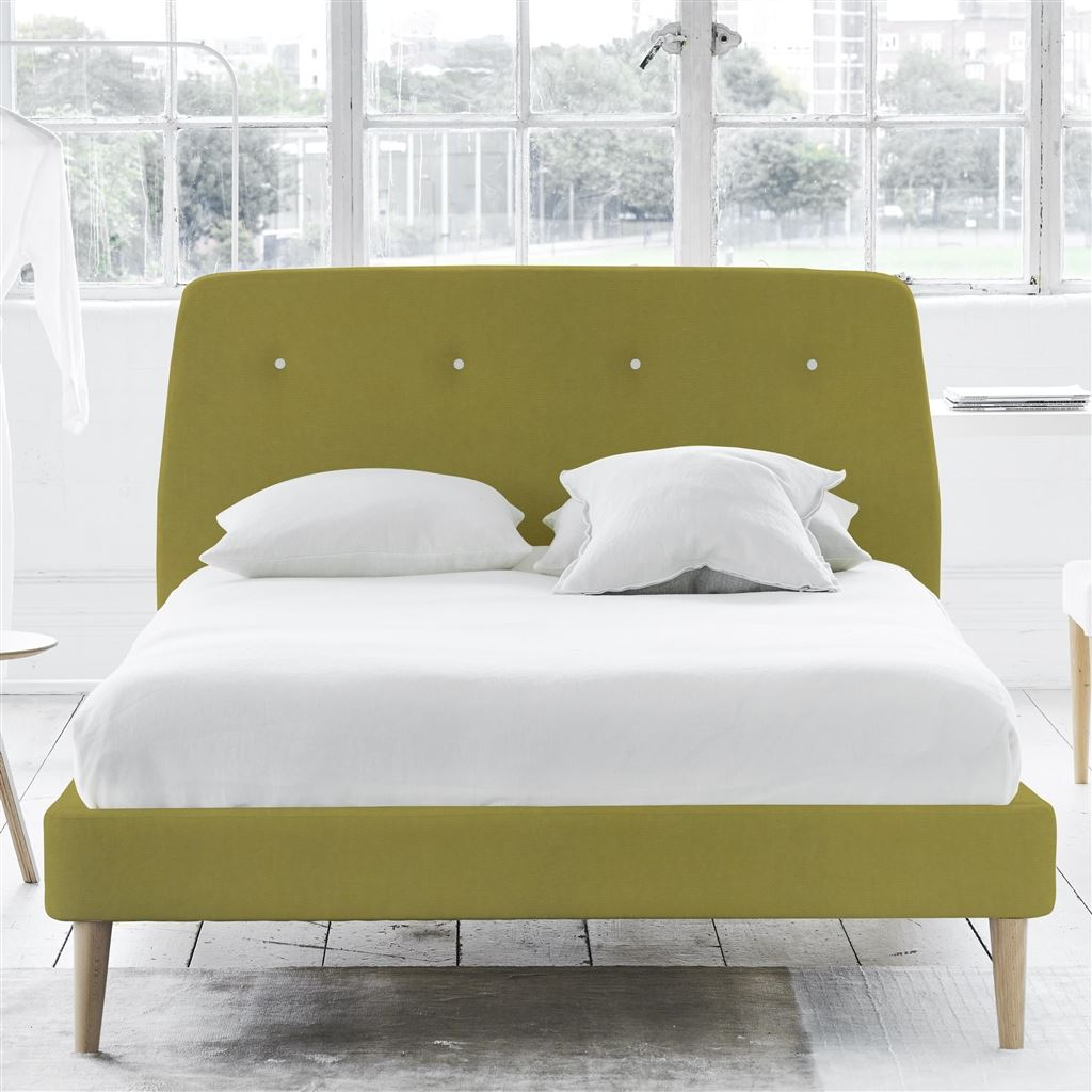 Cosmo King Bed - White Buttons - Beech Legs - Cassia Acacia - H108 x W164 x L220cm