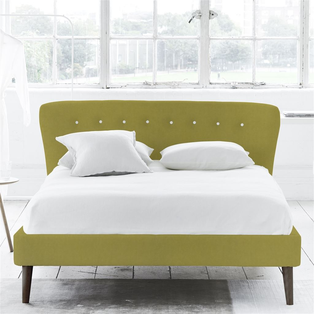 Wave King Bed - White Buttons - Walnut Legs - Cassia Acacia - H93 x W176 x L238cm