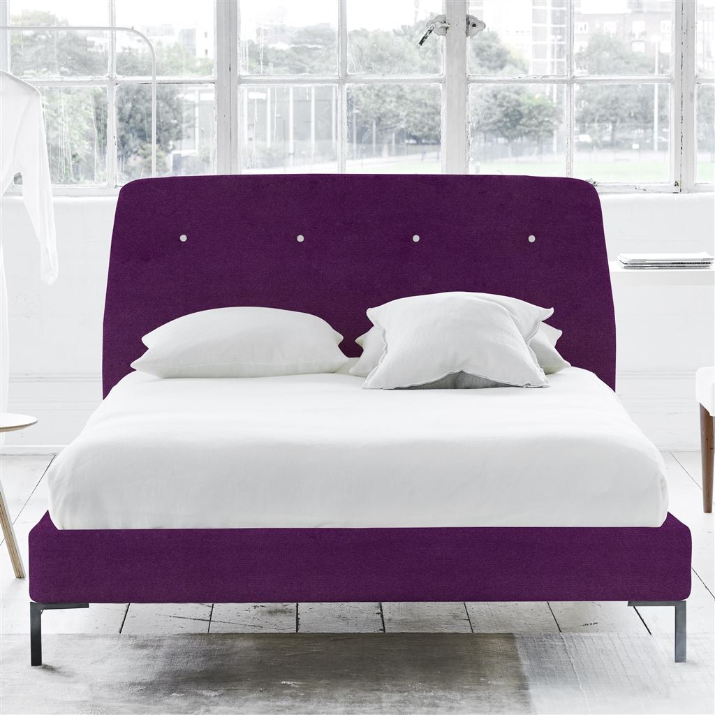 Cosmo King Bed - White Buttons - Metal Legs - Cassia Damson - H108 x W164 x L220cm