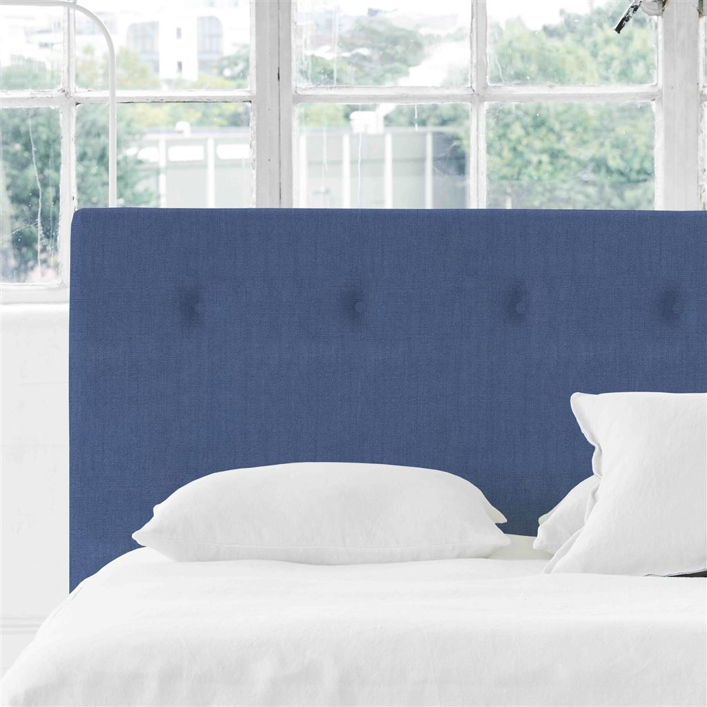 Polka Superking Headboard - Self Buttons - Brera Lino Marine - H106 x W193cm
