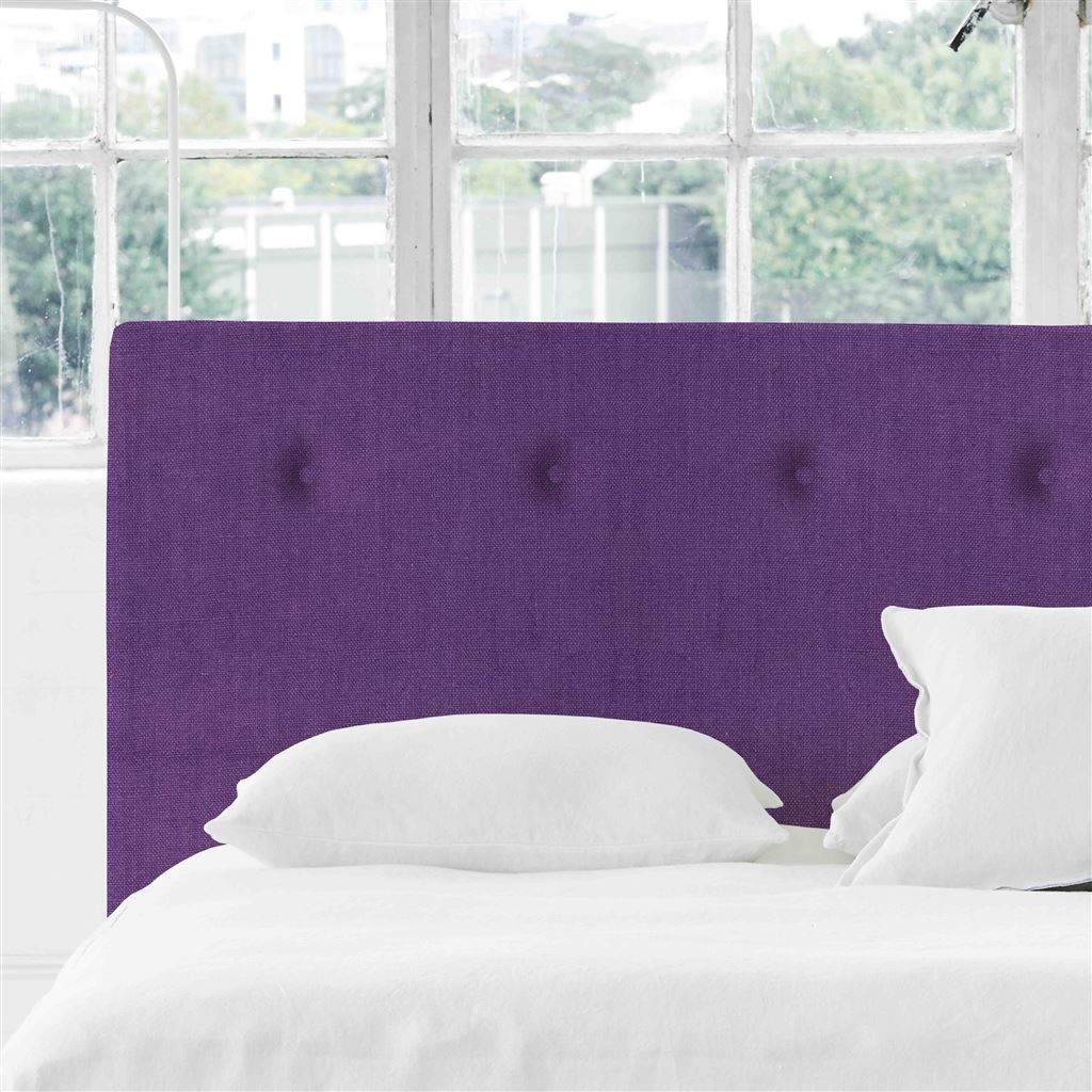 Polka Double Headboard - Self Buttons - Brera Lino Violet - H106 x W147cm