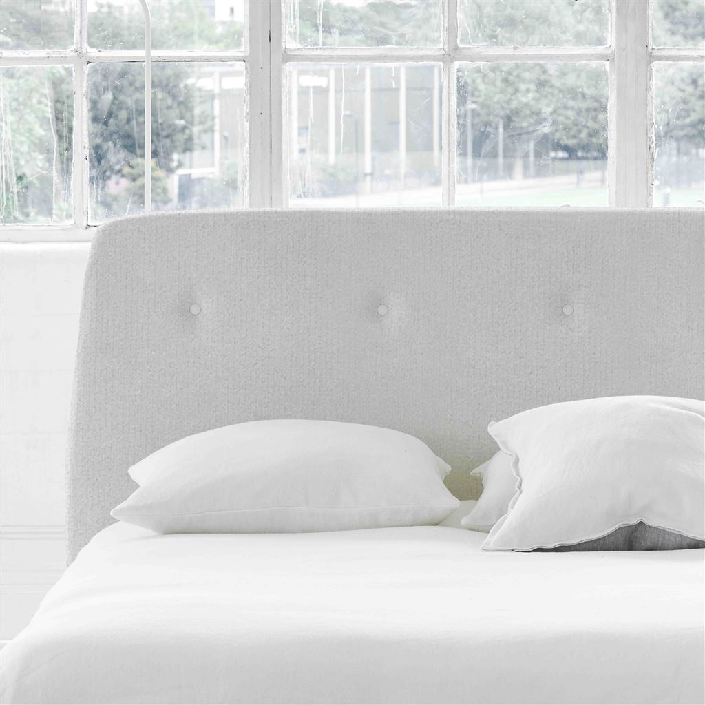Cosmo Superking Headboard - White Buttons - Cassia Chalk - H107 x W193cm