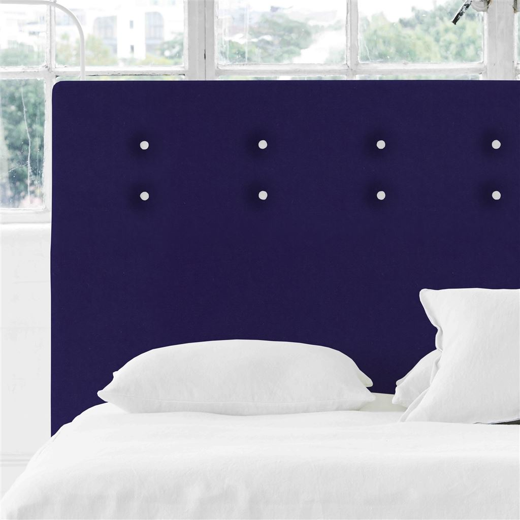 Polka Alto Superking Headboard - White Buttons - Cassia Dewberry - H132 x W193cm