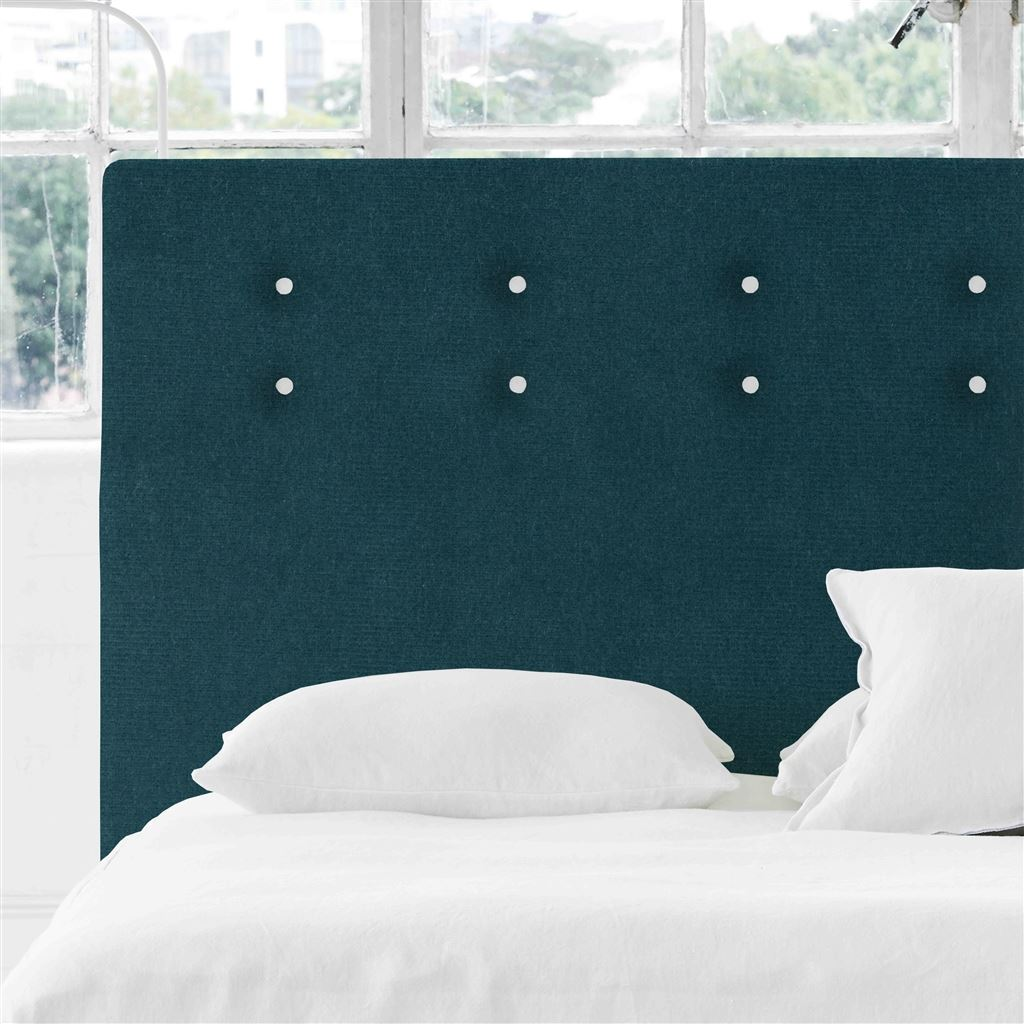 Polka Alto Double Headboard - White Buttons - Cassia Kingfisher - H132 x W147cm
