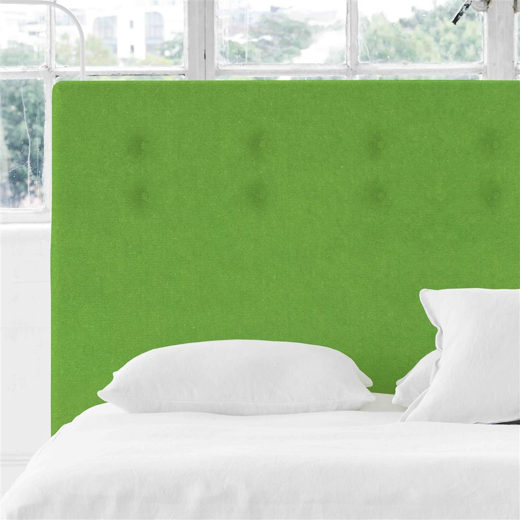 Polka Alto Double Headboard - Self Buttons - Cassia Grass - H132 x W147cm