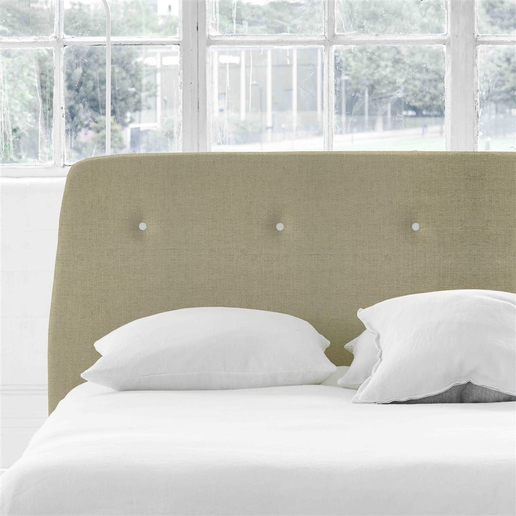 Cosmo Double Headboard - White Buttons - Elrick Hessian - H107 x W147cm
