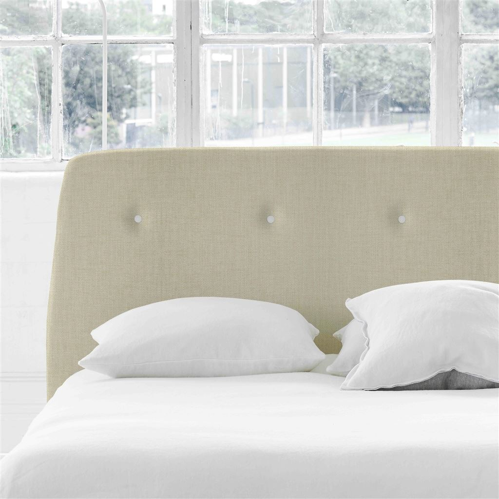 Cosmo Double Headboard - White Buttons - Elrick Natural - H107 x W147cm