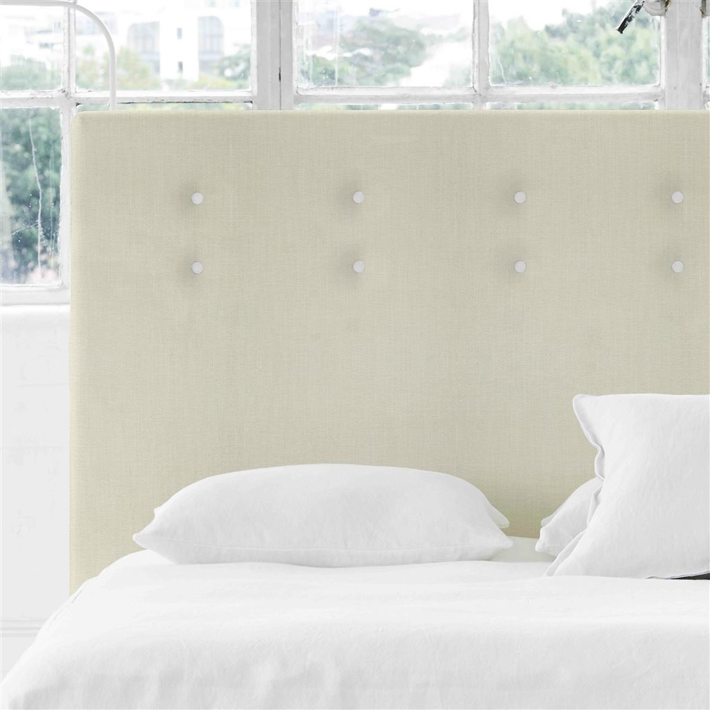 Polka Alto Superking Headboard - White Buttons - Elrick Chalk - H132 x W193cm