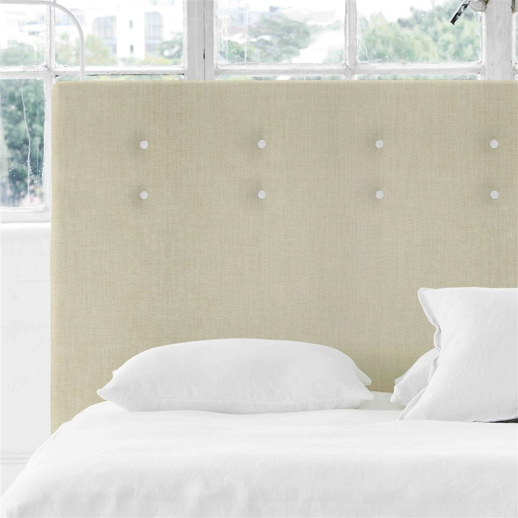 Polka Alto Double Headboard - White Buttons - Elrick Natural - H132 x W147cm