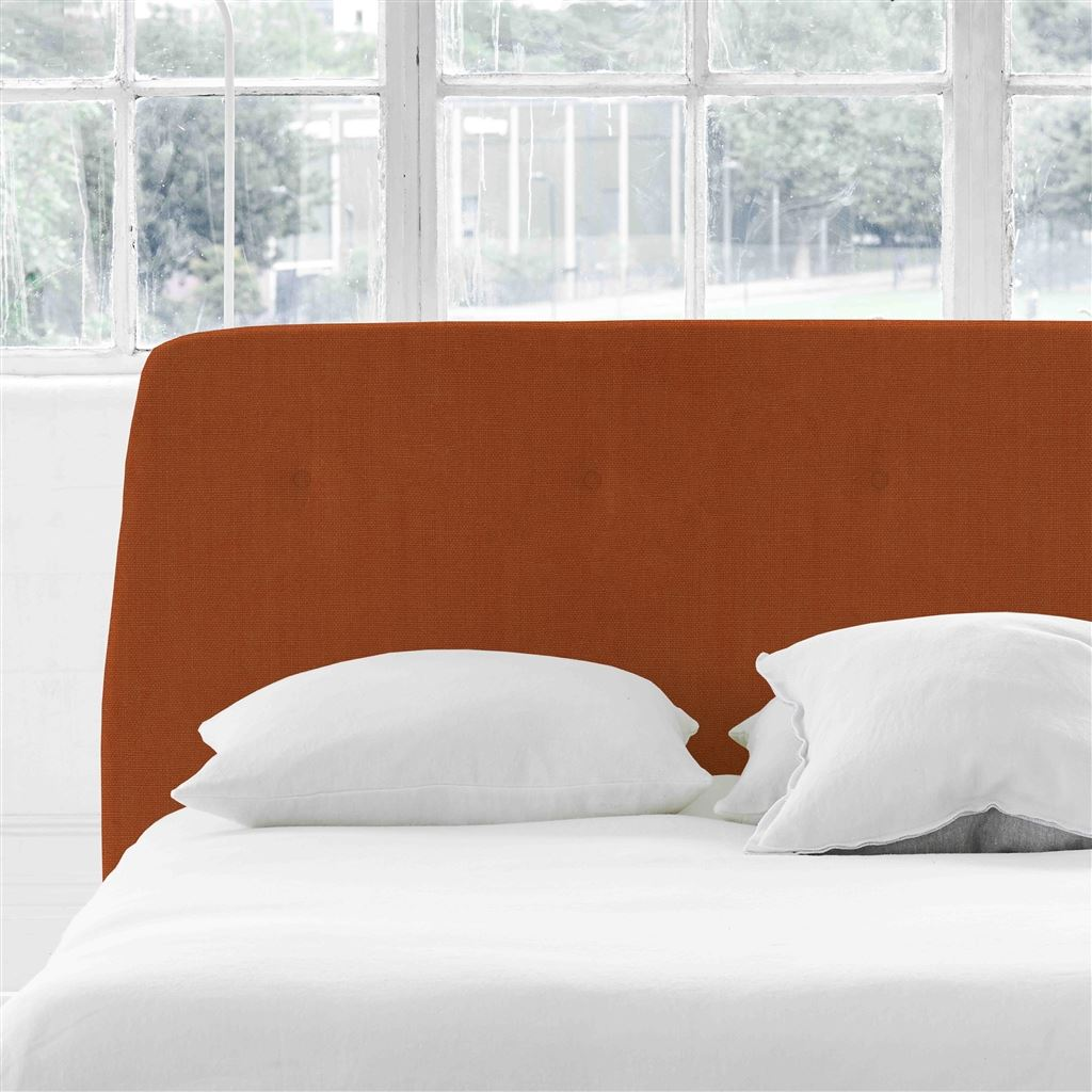 Cosmo Single Headboard - Self Buttons - Brera Lino Cinnamon - H107 x W100cm