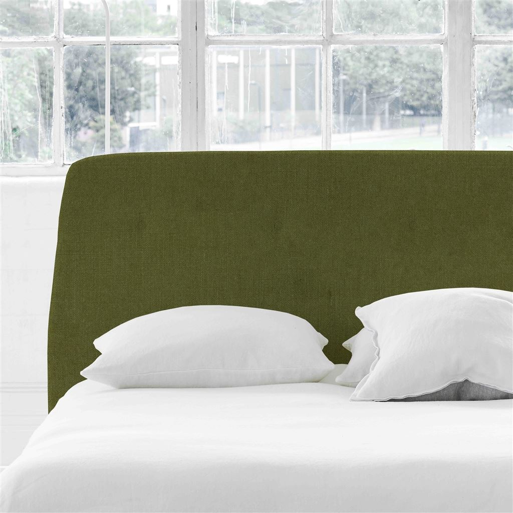 Cosmo Single Headboard - Self Buttons - Brera Lino Moss - H107 x W100cm
