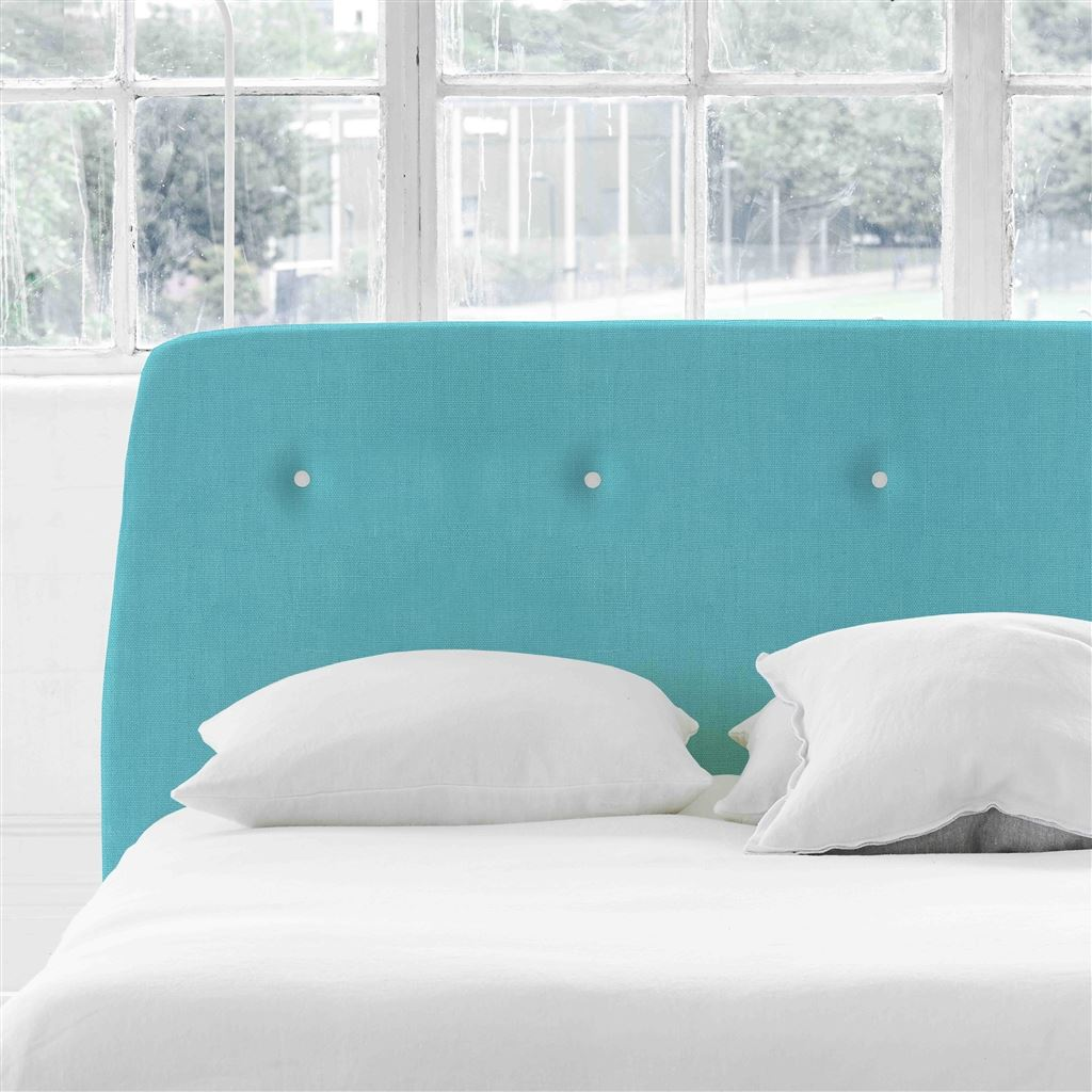 Cosmo King Headboard - White Buttons - Brera Lino Turquoise - H107 x W161cm