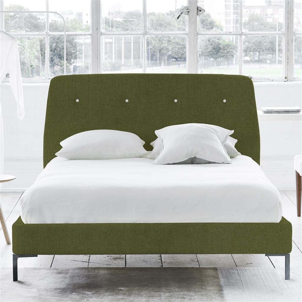 Cosmo Superking Bed - White Buttons - Metal Legs - Brera Lino Moss - H108 x W194 x L220cm