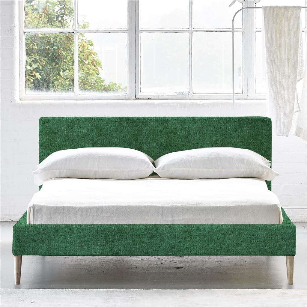Square Low Superking Bed - Beech Legs - Zaragoza Emerald - H79 x W194 x L220cm