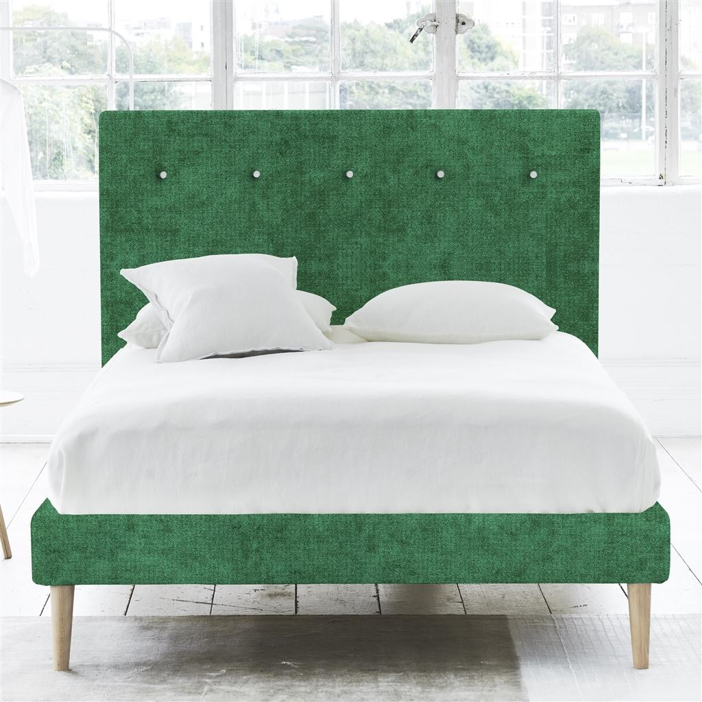 Polka King Bed - White Buttons - Beech Legs - Zaragoza Emerald - H117 x W164 x L220cm