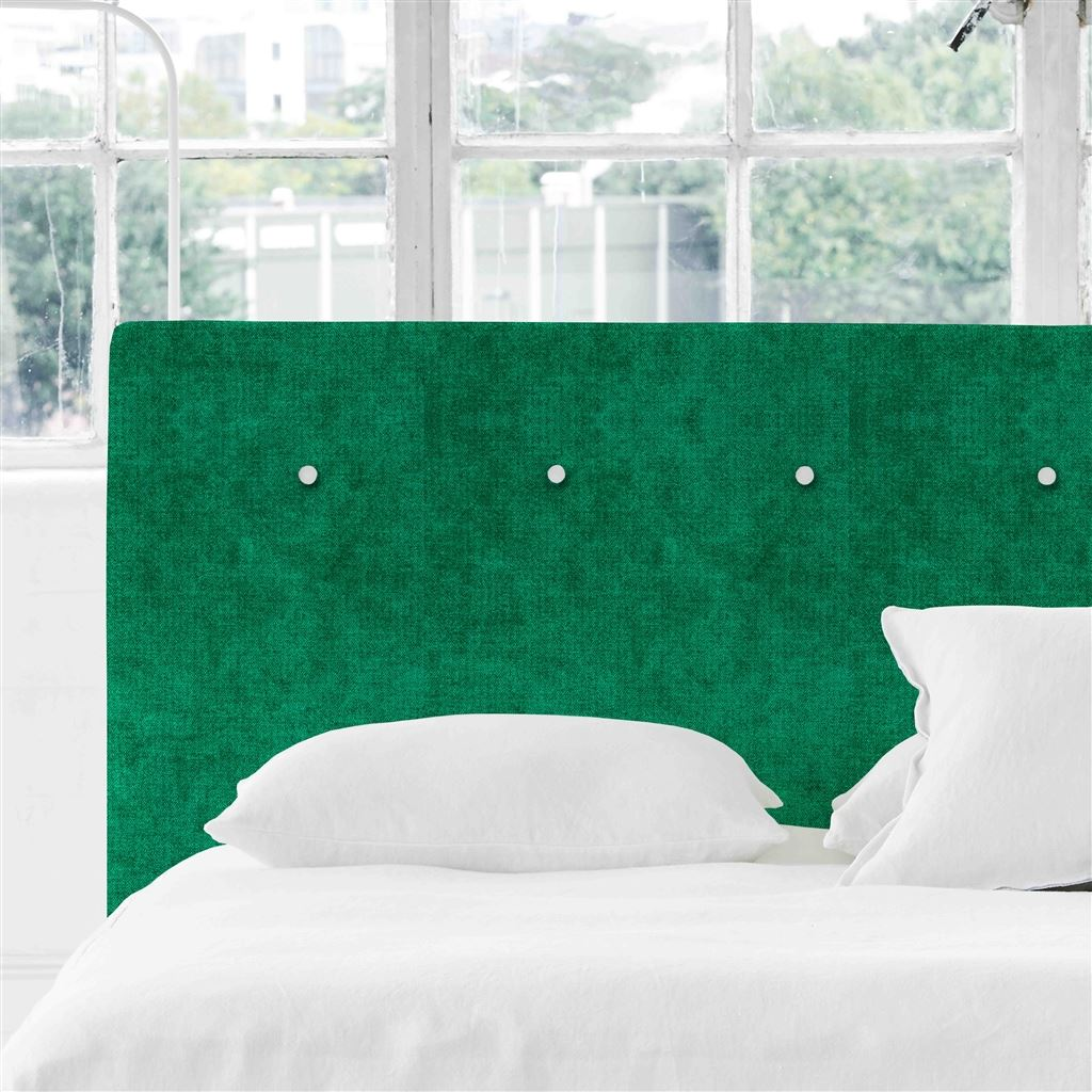 Polka King Headboard - White Buttons - Zaragoza Emerald - H106 x W161cm
