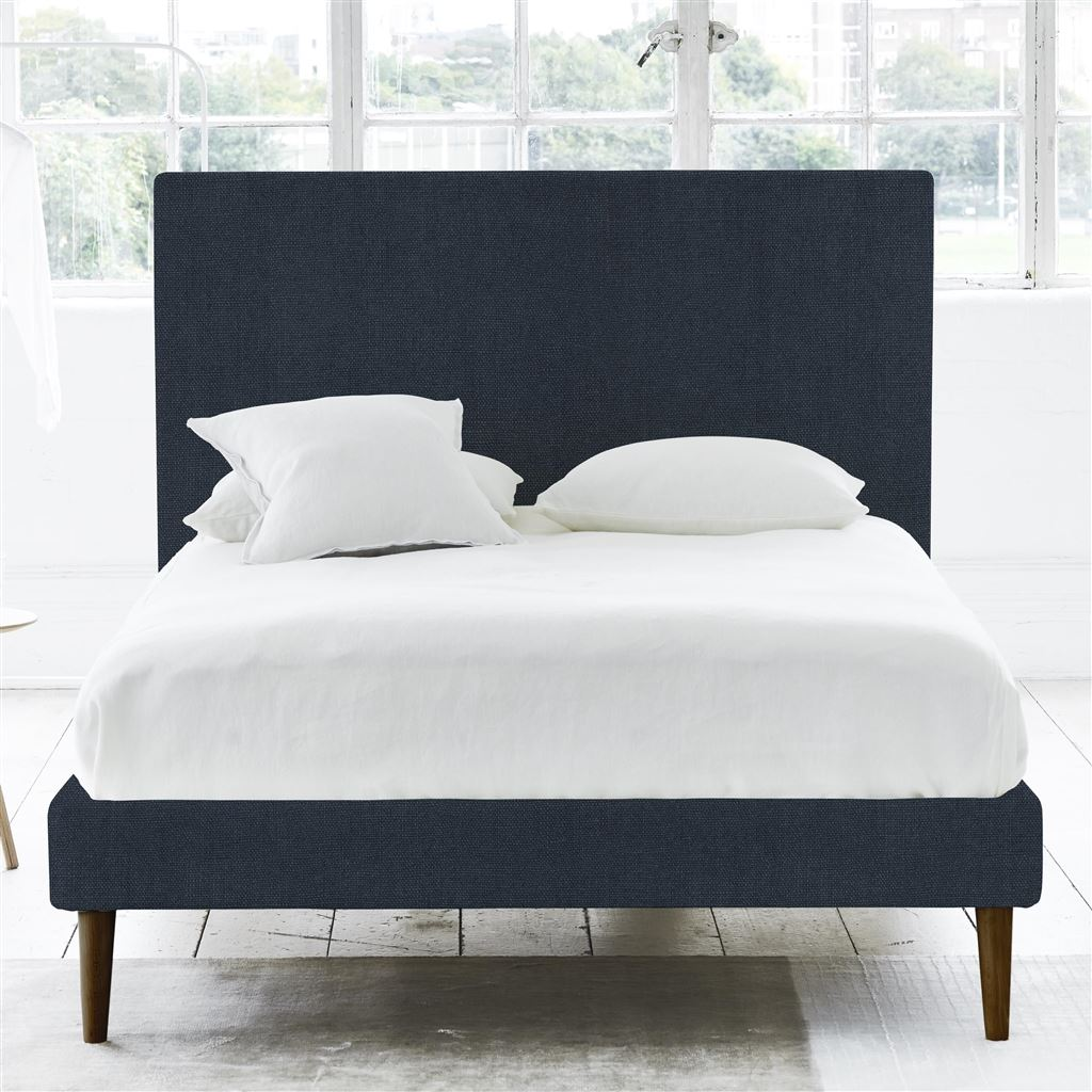 Square Superking Bed - Walnut Legs - Brera Lino Denim - H117 x W194 x L220cm