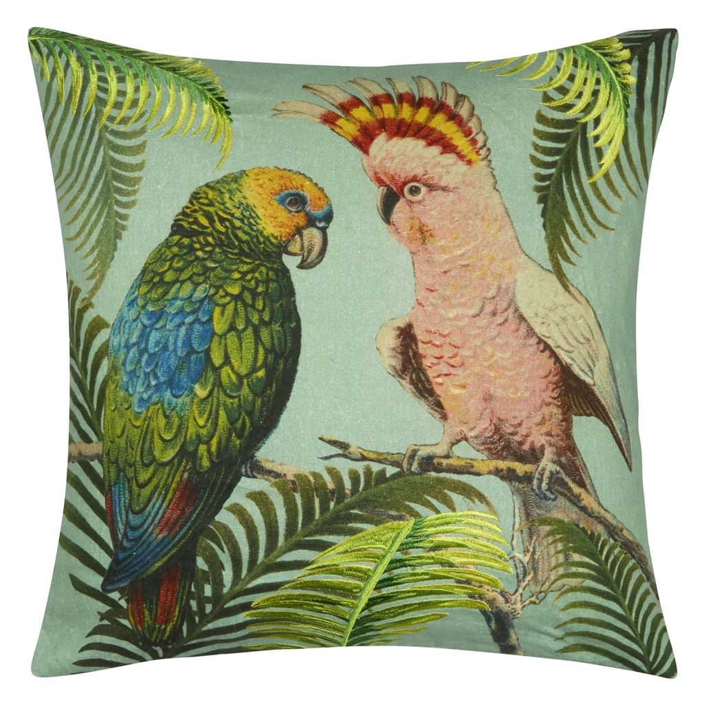 Parrot and Palm Azure Cushion 50x50cm