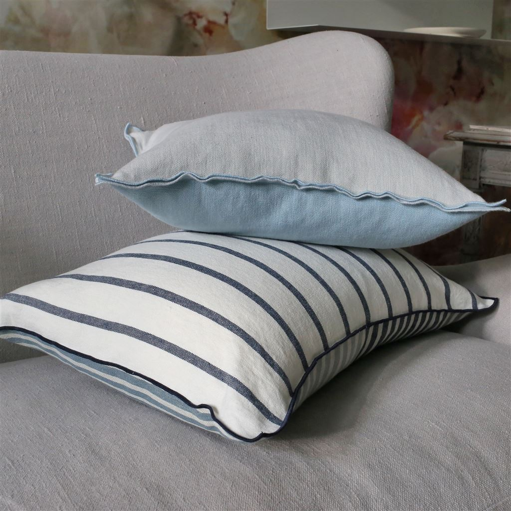"New Designers Guild Fabric Cushion Cover 17/"" Reversible Stripey Brown Turquoise"