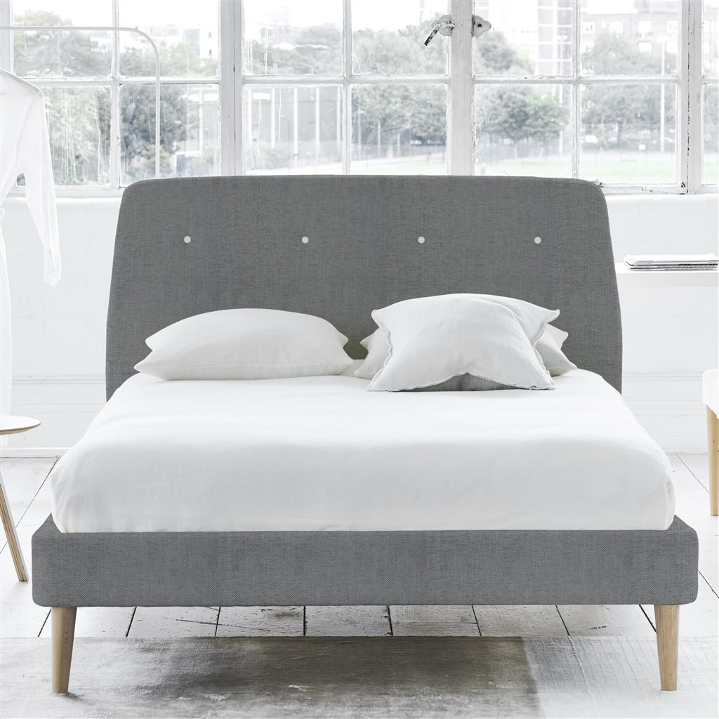COSMO BED WHITE BUTTONS - DOUBLE - BEECH LEG - ELRICK STEEL