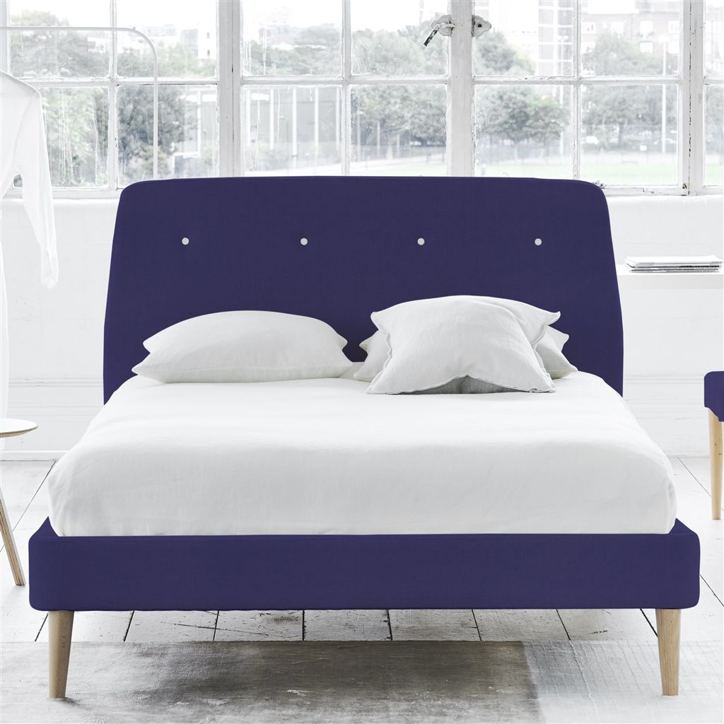 COSMO BED WHITE BUTTONS - DOUBLE - BEECH LEG - CASSIA DEWBERRY