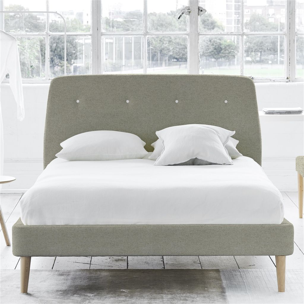 COSMO BED WHITE BUTTONS - DOUBLE - BEECH LEG - CHEVIOT PEBBLE