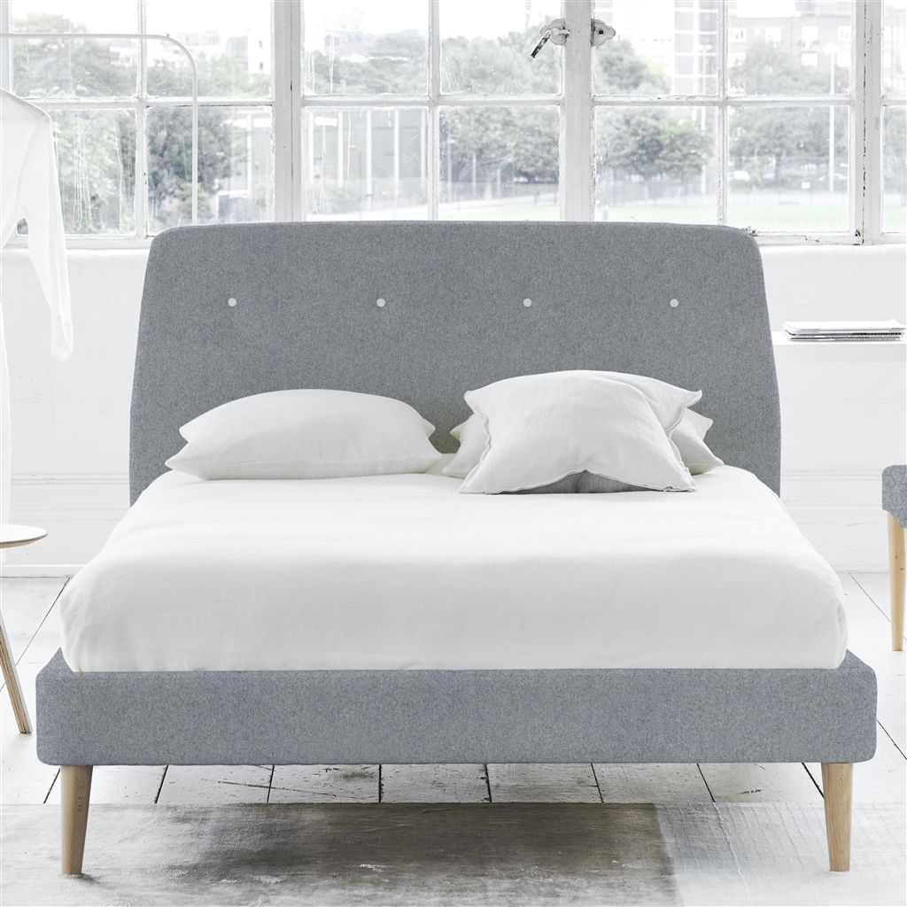 COSMO BED WHITE BUTTONS - DOUBLE - BEECH LEG - CHEVIOT STONE