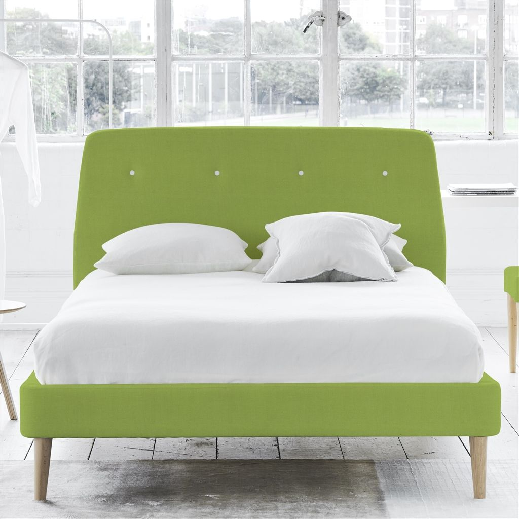 COSMO BED WHITE BUTTONS - KING - BEECH LEG - BRERA LINO LEAF