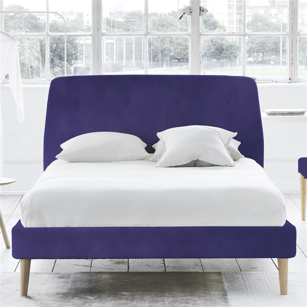 COSMO BED-SELF BUTTONS - SINGLE - BEECH LEG - CASSIA DEWBERRY