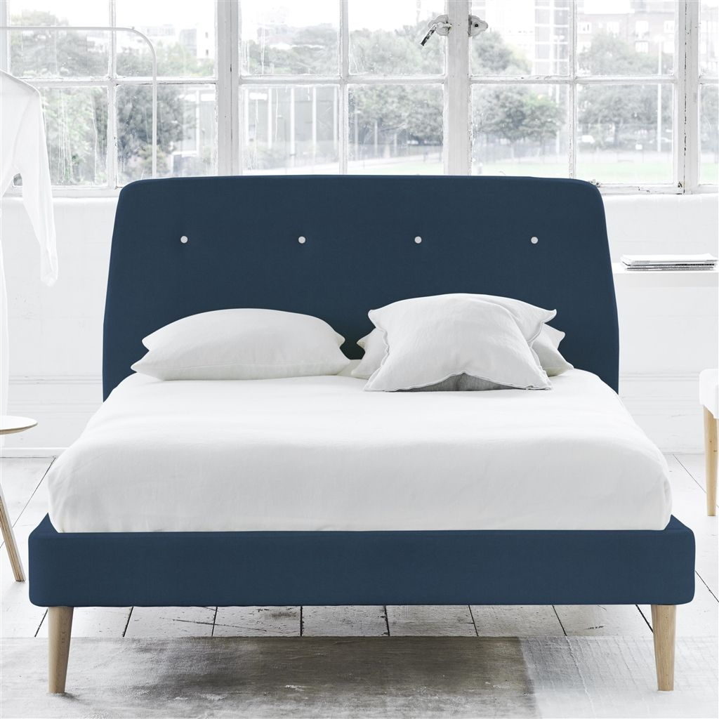 COSMO BED WHITE BUTTONS - SINGLE - BEECH LEG - CASSIA PRUSSIAN