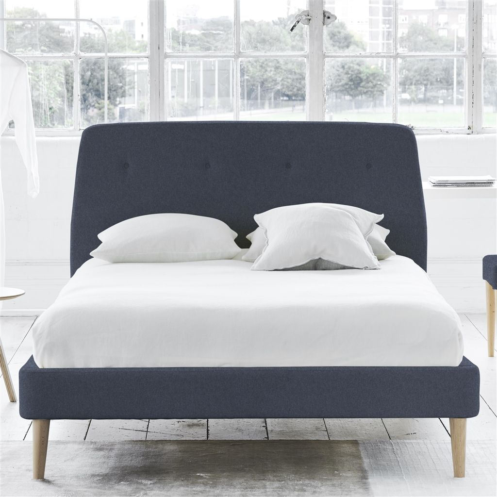 COSMO BED-SELF BUTTONS - SINGLE - BEECH LEG - CHEVIOT INDIGO